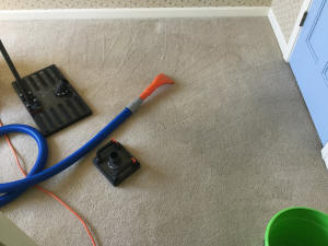 Clean carpet after DooDoo Voodoo extraction of dog pee with Water Claw & upholstery tool